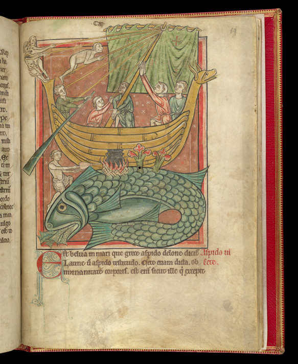 Men Landing A Boat On The Back Of A Whale, In A Bestiary